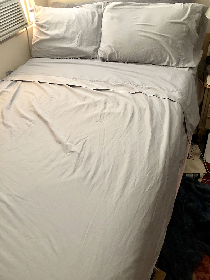 Freshly washed GhostBed sheets, smelling better and feeling softer